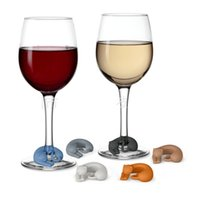 Wholesale Lovely Kitty Cat - Europe Silicone Cat WINE LIVES Kitty Drink Markers Lazy Cats Lovely Tab Identifier Cup Counter Mark Mug Sign Creative Cups Label Popular 8cx