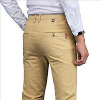 ingrosso abito nero khaki per gli uomini-Wholesale- Pantaloni da uomo Slim Fit Plus Size Formal Pants Uomo Skinny Formal Suit Pantaloni Casual Pantalones Hombre Nero Grigio Blu Khaki