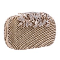 Wholesale Day Bag Beading - Wholesale- Hot Diamonds Evening Bags Flower Leaf Day Clutch Handbags Evening Women Bag Shoulder Chains Bag For Wedding Party