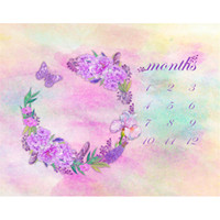 Wholesale Flower Watercolor Paintings - Digital Painted Watercolor Pastel Pink Baby Background Floral Wreath Purple Flowers Butterfly Calendar Photography Backdrop for Newborn