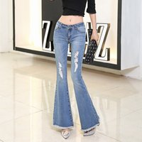 Wholesale Stretch Women Jeans Bell Bottom - Europe and the United States the new female cultivate one's morality high waist fringed torn jeans stretch big bell bottoms