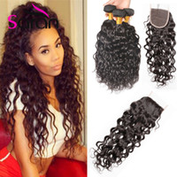 Wholesale Chinese Wavy Hair - 8A Brazilian Water Wave Hair With Closure 3 Bundles With Closure Brazilian Body Wave Hair With Closure Wavy Human Hair Extensions