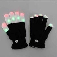 ingrosso guanti di rave neri-LED Flash Glove Finger 7 Mode Colore Light Mittens Magic Black Gloves Rave Party Supplies Decorazione di Halloween