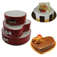 canlı kek toptan satış-3 ADET / GRUP Kek Kalıp Karbon çelik Çerez Fondan Kek Kalıp Kalıp Meyve Sebze Kesici Canlı Alt Toka ile Yuvarlak Kek Kalıp LB 518