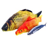 Wholesale Pets Player - Cat Favor Colorful Fish Dog Toy Plush Stuffed Fishes Shaped Cats Toys Puppy Lovely Scratching For Pet Dogs Chew Training Product Player