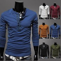 Wholesale Korean Shirt Brands For Men - Men Henley Neck Brand T-Shirts Shirts Long Sleeve Tshirt Men Clothes Fashion T Shirt Tees for Mens Korean Style
