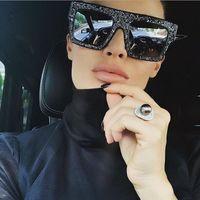 Wholesale Pink Rhinestone Sunglasses - women sunglasses diamond personality luxury brand designer men sunglasses 2017 new fashion Rhinestones sunglasses big frame
