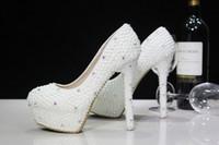 özel yüksek topuklu ayakkabılar toptan satış-Moda Lüks Inciler Kristaller Düğün Ayakkabı Custom Made Boyutu 11 cm Yüksek Topuk Gelin Ayakkabıları Parti Balo Kadın Ayakkabı Ücretsiz nakliye