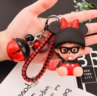 Wholesale Car Key Holder Good - Cute Monchichi Keychain Toys Rope Small Bell Constitute Key chains Key Rings Holder Women Handbags Car Charm Pendant Lady Bag car Pendant