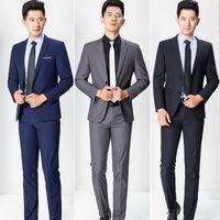 Wholesale Mens Professional Pants - Wholesale- 2017 New Brand Mens Business Suits Casual Blazer Mens Professional Clothing 2 Pieces Jacket+Pants Groomsman Dinner Jacket MT287