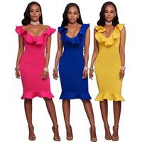 2017 neue frauen sexy tiefem v dress rüschen hals feste bodycon dress elegantes party dress