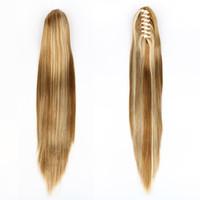 perruques de longueur moyenne ondulées brunes achat en gros de-XT030 Perruque synthétique de queue de cheval à griffes synthétiques de 21 po