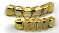 Wholesale Fashion Teeth - GOLD PLATED COPPER GRILLZ TOP & BOTTOM HIPHOP TEETH GRILL SET With silicone fashion Vampire teeth Party Gifts