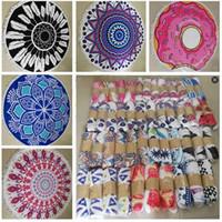 Wholesale Microfiber Yoga Towel Wholesale - Mandala Tapestry Round Towels Microfiber Geometric Tassel Beach Towel Thick Tassel Serviette De Plage Round Bikini Shawl Serviette Yoga