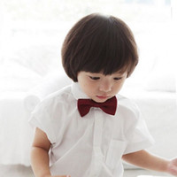 Wholesale Toddlers Neckties - Wholesale- 2015 Toddler Boys Solid Bow Ties Children Stylish Neckties For Wedding 9 Colors