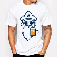 Wholesale Novelty Beers - 2018 Newest Men Fashion Beer Man Design T shirt Novelty beard printed Tops Gentleman Custom Printed Short Sleeve Tees