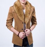 lana de piel de conejo al por mayor-Brand Men Wool Blends Coat con cuello de piel de conejo de lujo para hombres Outdoor Outerwear Winter medio-largo Trench Coat