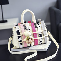 Wholesale New Crochet Cute Bag - Woman Bag Fashion New Ladies Handbag Leisure Cute Milk Colour Crossbody Single Shoulder Totes Free Shipping