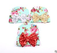 Wholesale Newborn Crochet Hats Flowers - newborn hat infant photography New Floral Sequin Butterfly Sweet Princess Toddler Caps Autumn Bow Flower Baby Girls Hats 7465