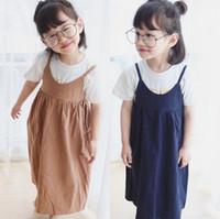 Wholesale Dress Clothes Korea - 2017 Spring Summer Baby Girls Cotton Line Dress Kids Solid Color Korea Fashion Slip Dress Princess Casual Dress Children Clothing Navy Khaki