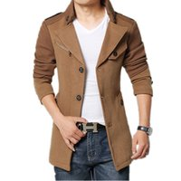abajo abrigo caqui al por mayor-Venta al por mayor- 2015 Brand Winter Jacket Coat Men Turnd-down Collar Slim Fit Mens Pea Coat Khaki Trench Mens Wool Coats Long Peacoat 4XL