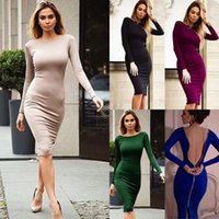 Wholesale Cocktail Dresses Solid Colors - 2017 Hot Selling 4 New Colors Women Sexy Bandage Bodycon Summer Evening Cocktail Party Long Sleeve Mini Dress Free Shipping CL108