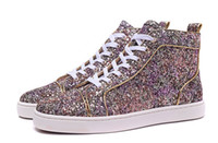 Cheap Red Bottom Sneakers Pour Hommes Femmes Avec Multicolore Glitter High Top Casual Shoes 2017 Mens Gold Line Leisure Trainer Footwear