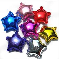 estrella dorada globo dorado al por mayor-Moda nueva 10 pulgadas The Stars Foil Balloons con oro y plata para decoración de cumpleaños fiesta de bodas juguete clásico