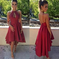 Wholesale sexy party dresses china resale online - Sexy Dark Red Short High Low Prom Dresses Cheap Keyhole Neck Backless Ruched Formal Party Gowns Custom Made China EN10076