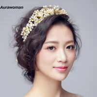 hairband diamanten großhandel-Herrliche Hochzeits-Tiara-Haar-Schmuck-Braut-europäische Kronen-Perlen-Diamant-Hochzeits-Haar-Zusätze Kopfbedeckungen New Fashion Bridal Hairband