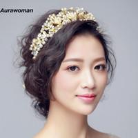 acessórios europeus do cabelo do casamento venda por atacado-Lindo Casamento Tiara Jóias Cabelo Da Noiva Europeia Crown Pearl Acessórios Para o Cabelo Do Casamento Do Dia Das Bruxas Headpieces New Fashion Bridal Hairband