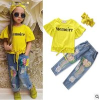 Wholesale Yellow Jeans For Boys - Ins Kids Outfits for Baby Girls Clothing Sets Yellow Tops Sequins Ripped Jeans 2 Piece Outfits Kids Clothing Korea Toddler Baby Clothes 1-6Y