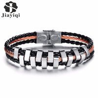 Dhgate Vintage Stainless Steel Men Bracelet Multilayer Braided Black Leather Rope Chain Charm Bracelets Silver Color Jewelry