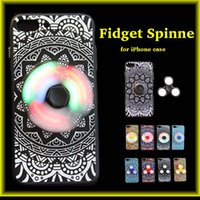 Wholesale Bag Light Led Wholesalers - LED Hand Spinner Fidget Fingertip Gyro Phone Case Decompression For iphone7 6s Protective Case Luminous Led Lights wholesale Retail Bag