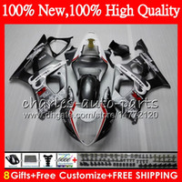 Wholesale Gsxr Grey - Body For SUZUKI GSX R1000 K3 03 GSXR1000 03 04 K2 Silver grey Bodywork HM.37 GSXR-1000 03 04 GSXR 1000 2003 2004 Fairing kit Silvery grey