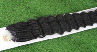 Wholesale Deep Curly Micro Loop - Cheap Double Drawn Curly Micro Loop Ring Human Hair Extensions 100S 100g Unprocessed 6A Brazilian Deep Curly Natural Hair Extension