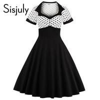 All ingrosso- Sisjuly primavera vintage donna vestire nero bianco patchwork  a pois donne a-line sottile moda nuova 2017 donne abiti vintage 732f3b1c098