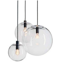 Wholesale pendant lamp shade glass - Modern Nordic Lustre Globe Pendant Lights Glass Ball Lamp shade Hanging Lamp E27 Suspension Kitchen Light Fixtures Home Lighting LLFA