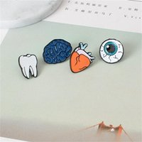 Wholesale Teeth Brooches - Wholesale- Cartoon Cute Brain Heart Eye Tooth Metal Brooch Pins Button Pins Girl Gift Wholesale z14