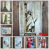 Wholesale antique metal telephones - Statue of Liberty Eiffel Tower telephone booth Vintage Craft Tin Sign Retro Metal Poster Bar Pub Signs Wall Art Sticker(Mixed designs)