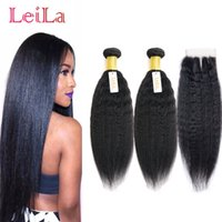 Wholesale natural yaki hair piece - Cheap Brazilian Virgin Hair Kinky Straight Unprocessed Human Hair 2 Bundles With Lace Closure 3 Pieces lot Natural Color Yaki