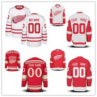 Wholesale Mens Wing - Custom Detroit Red Wings Mens Womens Youth White 2017 Centennial Classic Winter Red Any Name Any Number Stitched Hockey Jerseys S-4XL
