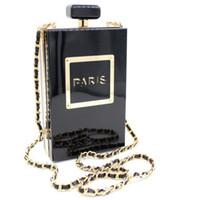 siyah parfüm şişeleri toptan satış-Kadın Debriyaj Çanta Parfüm Şişesi Crossbody Çanta Laides Siyah Akrilik Debriyaj Çanta Akşam Çanta