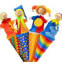 payasos de peluche al por mayor-Brand baby cute clown pop up títeres / madera telescópica palo muñeca / niños niños regalos de cumpleaños / juguetes de peluche muñeca para bebé