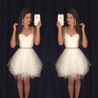 Wholesale Sweetheart Mini Puffy - Sweetheart Prom Dresses Puffy Short White Spaghetti Straps Beaded Crystals Ruffles Graduation Party Dress Cheap