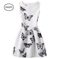 Wholesale Teen Knee High - Wholesale- Summer new 2017 teens Ladies Dress party Women casual dresses butterfly printing sleeveless 12-20Y Women High-grade dress
