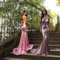 Wholesale Spaghetti Strap Sparkle Party Dress - Sparkled Rose Pink Sequined Mermaid Prom Dresses Spaghetti Straps Glitter Open Back Sexy Long Evening Party Gowns Bridesmaid Dress 2017
