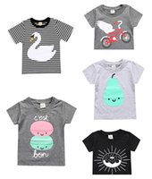 Wholesale Wholesale Striped Tshirts - Kids Fashion Tops Unisex Children Animal Tshirts Baby Boutique Cotton Summer Outifits Toddler Casual Striped Print Clothes
