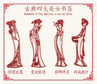 Wholesale Creative Bookmark Chinese wind metal stainless steel classical four beautiful women in Chinese ancient s paper cut hollow gift