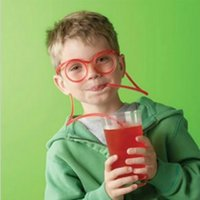 Wholesale Toy Eye Glasses - Wholesale-1pcs Hot Sale Funny Drinking Straw Eye Glasses Soft Silly Novelty Toy Birthday Gift Child Adult Random Color Free Shipping